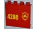 Part No: 60581pb013L  Name: Panel 1 x 4 x 3 with Side Supports - Hollow Studs with Yellow and Red Fire Logo Badge and '4208' on Left Pattern (Sticker) - Set 4208
