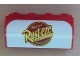 Part No: 6081pb012  Name: Brick, Modified 2 x 4 x 1 1/3 with Curved Top with Rust-eze Logo Pattern (Sticker) - Set 8486