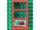 Part No: 6160c03pb05  Name: Window 1 x 4 x 6 Frame with 3 Panes, Fixed Glass with Trans-Light Blue Glass with Money and Red Ticket Right Pattern (Sticker) - Set 4556