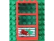 Part No: 6160c03pb06  Name: Window 1 x 4 x 6 Frame with 3 Panes, Fixed Glass with Trans-Light Blue Glass with Money and Red Ticket Left Pattern (Sticker) - Set 4556