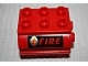Part No: 6429pb04  Name: Duplo Container Water Container with 'FIRE' Text and Fire Logo on Black Pattern