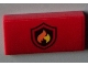 Part No: 88930pb027  Name: Slope, Curved 2 x 4 x 2/3 No Studs with Bottom Tubes with Black and Yellow Fire Logo Badge Pattern (Sticker) - Set 60003