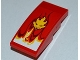 Part No: 93606pb003  Name: Slope, Curved 4 x 2 No Studs with Flames and Lion Head Pattern (Sticker) - Set 9441