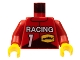 Lot ID: 94675302  Part No: 973pb0095c01  Name: Torso Race Driver with Race Logo, 1 and Racing Pattern / Red Arms / Yellow Hands