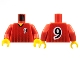 Part No: 973pb0171c01  Name: Torso Soccer Black Fading Stripes and No. 9 Front and Back Pattern / Red Arms / Yellow Hands