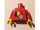 Part No: 973pb0812c01  Name: Torso Soccer Red/White Team, Belgian Flag Sticker Front, Black Number Sticker Back (specify number in listing) / Red Arms / Yellow Hands