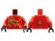 Part No: 973pb0833c01  Name: Torso Ninjago Gold Dragon Head and Flames Front and 'KAI' Back Pattern / Red Arms / Black Hands