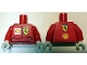 Part No: 973pb1763c01  Name: Torso Racers Ferrari front, Shell back (Stickers) without Driver Name Pattern / Red Arms / White Hands