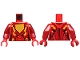 Part No: 973pb2234c01  Name: Torso Nexo Knights Female Armor with Orange and Gold Circuitry and Gold Dragon Head on Orange Pentagonal Shield Pattern / Dark Red Arms / Red Hands
