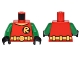 Part No: 973pb2292c01  Name: Torso Batman 'R' Symbol, V Neck with Yellow Belt with Round Buckle Pattern / Green Arms / Black Hands