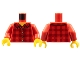 Part No: 973pb2343c01  Name: Torso Plaid Flannel Shirt with Collar and 5 Buttons Pattern / Red Arms / Yellow Hands