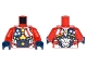 Part No: 973pb2646c01  Name: Torso Armor with Stars and Stripes and Silver Plates and Yellow Circle Arc Reactor Pattern / Red Arms / Dark Blue Hands