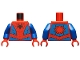 Part No: 973pb3367c01  Name: Torso, Black Spider, Dark Red Webbing, Blue Vest and Belt Pattern / Blue Arms / Red Hands