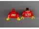Part No: 973px131ac01  Name: Torso TV Logo, Zipper and ID Badge Pattern - LEGO Logo on Back / Red Arms / Yellow Hands