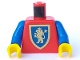 Part No: 973px138c01  Name: Torso Castle Crusaders Gold Lion Shield Pattern / Blue Arms / Yellow Hands