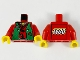 Part No: 973px14ac01  Name: Torso Castle Ninja Vest Green Tattered Pattern (Robber) - LEGO Logo on Back / Red Arms / Yellow Hands