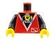 Part No: 973px52c01  Name: Torso Divers Submarine Logo Pattern / Black Arms / Yellow Hands
