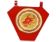 Part No: x1435pb008  Name: Flag 5 x 6 Hexagonal with Red Dragon Head in Gold Circle Pattern on Both Sides (Stickers) - Set 70728
