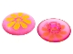 Part No: clikits086pb06  Name: Clikits Icon, Round 2 x 2 Large with Pin, Flower Yellow Pattern