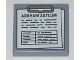 Part No: 3068bpb1051  Name: Tile 2 x 2 with Groove with Clipboard with 'ARKHAM ASYLUM', Notes and Table Pattern