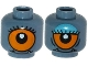 Part No: 3626cpb1241  Name: Minifigure, Head Dual Sided Alien with Lower Fangs, Eyelashes, Single Orange Eye Open / Eye Half Closed with Blue Eye Shadow Pattern - Hollow Stud