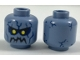 Part No: 3626cpb1897  Name: Minifigure, Head Alien with Yellow Eyes, Black Eyebrows and Jagged Rock Mouth, Dark Blue Eye Shadow and Stone Cracks Pattern - Hollow Stud