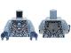 Part No: 973pb1629c01  Name: Torso Chima Dark Bluish Gray Armor, Silver Buckles, Bat Pendant and Dark Azure Round Jewel (Chi) Pattern / Sand Blue Arms / Dark Blue Hands