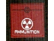Part No: 3068bpb0875  Name: Tile 2 x 2 with White Radioactivity Warning and 'AMMUNITION' Pattern (Sticker) - Set 8102