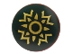 Part No: 75902pb02  Name: Minifigure, Shield Round with Rounded Front with Dark Green and Gold Rohan Pattern