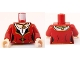 Part No: 973pb0871c01  Name: Torso PotC Dress with Gold and Black Trim, White Collar, Gold Medallion Pattern / Dark Red Arms / Light Flesh Hands