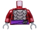 Part No: 973pb1368c01  Name: Torso Armor with Dark Purple Belt with Silver Clasp Pattern / Dark Red Arms / Dark Bluish Gray Hands