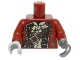Part No: 973pb2099c01  Name: Torso Pirate Coat Ruffled Shirt, Brown Strap, Copper Buttons and Buckle Pattern / Dark Red Arms / Flat Silver Hook Left / Light Bluish Gray Hand Right