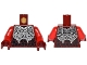 Part No: 973pb2363c01  Name: Torso Nexo Knights Armor with Silver Plates, Chain, Rivets and Black Scales Pattern / Red Arms / Dark Red Hands