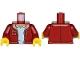 Part No: 973pb3162c01  Name: Torso Jacket with Pockets and Medium Dark Flesh Collar over Light Bluish Gray Shirt Pattern / Dark Red Arms / Yellow Hands