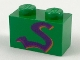 Part No: 3004px5  Name: Brick 1 x 2 with Purple Snake Pattern
