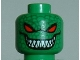 Part No: 3626bpb0256  Name: Minifigure, Head Alien with Red Eyes, Grin with Sharp Teeth, Reptile Scales Pattern - Blocked Open Stud