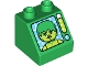 Part No: 6474pb42  Name: Duplo, Brick 2 x 2 Slope 45 with Hulk Pattern