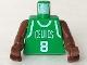 Part No: 973bpb154c01  Name: Torso NBA Boston Celtics #8 (Green Jersey) Pattern / Brown NBA Arms