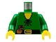 Part No: 973p46c01  Name: Torso Castle Forestman Tie Shirt and Purse Pattern / Green Arms / Yellow Hands
