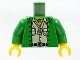 Part No: 973pa8c01  Name: Torso Adventurers Jungle Jacket, White Shirt, and Necklace Pattern / Green Arms / Yellow Hands