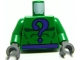 Part No: 973pb0234c01  Name: Torso Batman Dark Purple Question Mark and Belt Pattern / Green Arms / Dark Bluish Gray Hands