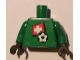 Part No: 973pb0825c01  Name: Torso Soccer Swiss Goalie, Swiss Flag Sticker Front, White Number Sticker Back (specify number in listing) / Green Arms / Black Hands
