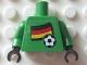 Part No: 973pb0994c01  Name: Torso Soccer German Goalie, German Flag Sticker Front, White Number Sticker Back (specify number in listing) / Green Arms / Black Hands