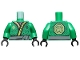 Part No: 973pb3020c01  Name: Torso Ninjago Robe with Lime and Gold Trim, Gold Symbol, Black Dots, Dark Bluish Gray Sash Pattern / Green Arms / Black Hands
