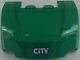 Part No: 98835pb011  Name: Vehicle, Mudguard 3 x 4 x 1 2/3 Curved Front with 'CITY' on Green Background Pattern (Sticker) - Set 60052