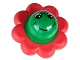 Part No: pri067pb02  Name: Primo Rattle Flower with 8 Red Petals and Smiley Face Pattern