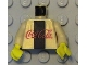 Part No: 973pb0007c02  Name: Torso Coca-Cola Logo with Black Stripe Pattern / Pearl Light Gold Arms / Yellow Hands