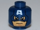 Part No: 3626cpb0700  Name: Minifigure, Head Male Mask with Eye Holes and Letter A on Forehead, Determined Pattern (Captain America) - Hollow Stud