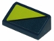 Part No: 85984pb207  Name: Slope 30 1 x 2 x 2/3 with Lime Triangle on Dark Blue Background Pattern (Sticker) - Set 70835