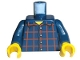 Part No: 973pb0086c01  Name: Torso Plaid Button Shirt Pattern / Dark Blue Arms / Yellow Hands